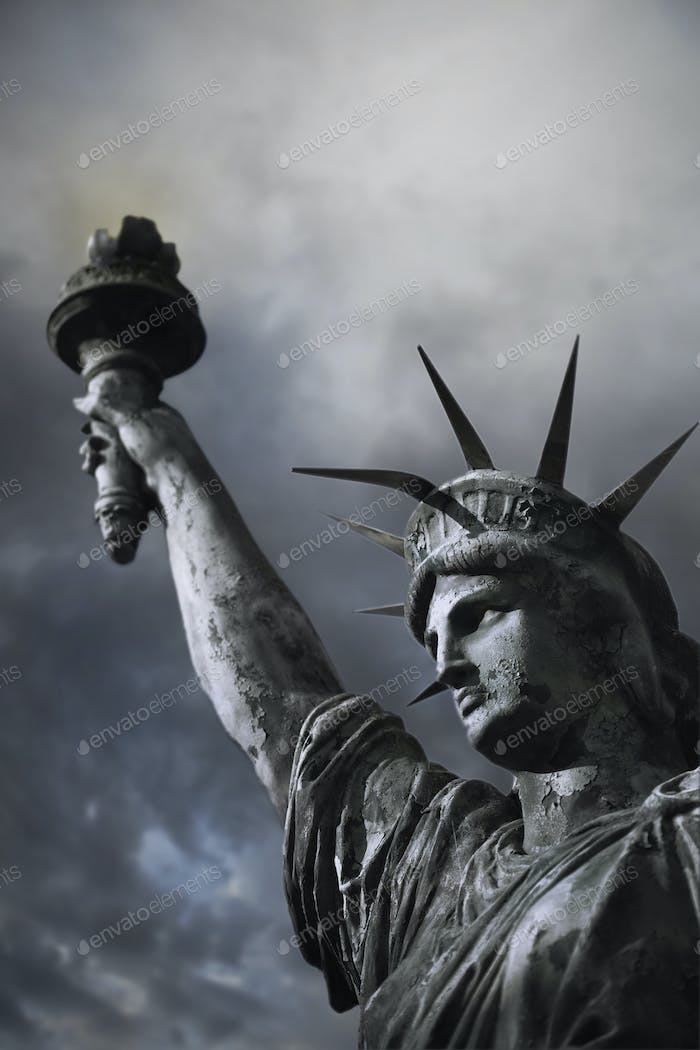 American symbol and cloudy sky on background