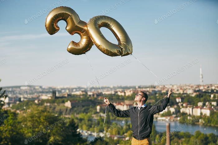 Man celebrates thirty years birthday