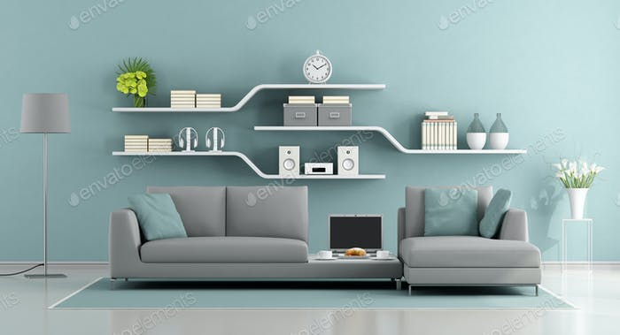 Blue and gray minimalist lounge