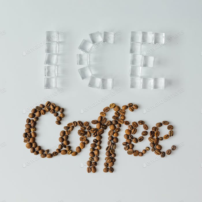 Word Coffee made of ice cubes and coffee beans on bright background. Flat lay summer drink concept.