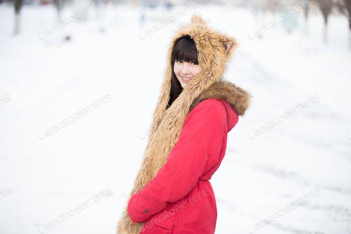 Female portrait outdoors in wintertime
