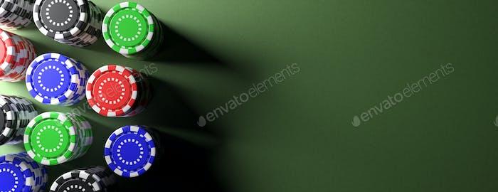 Casino poker chips on green table, banner. 3d illustration