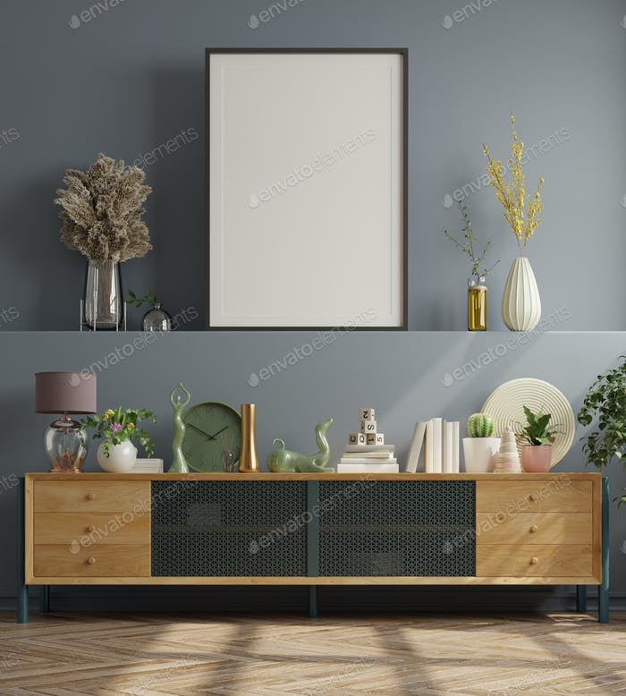 Mock up poster in modern living room.