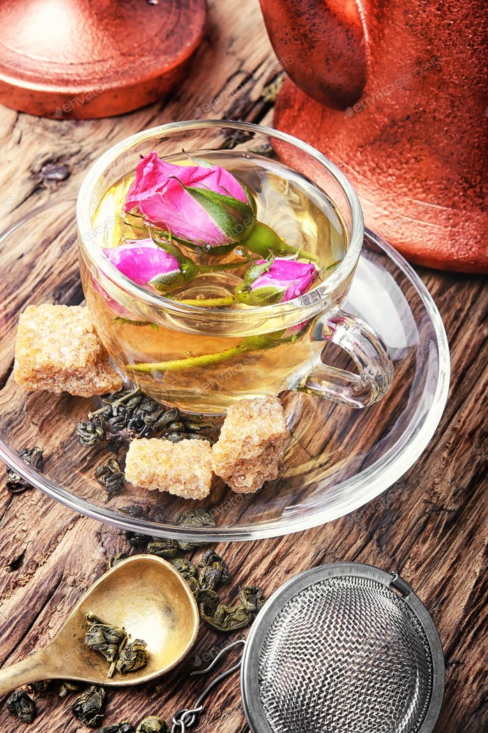 herb tea made from tea rose petals