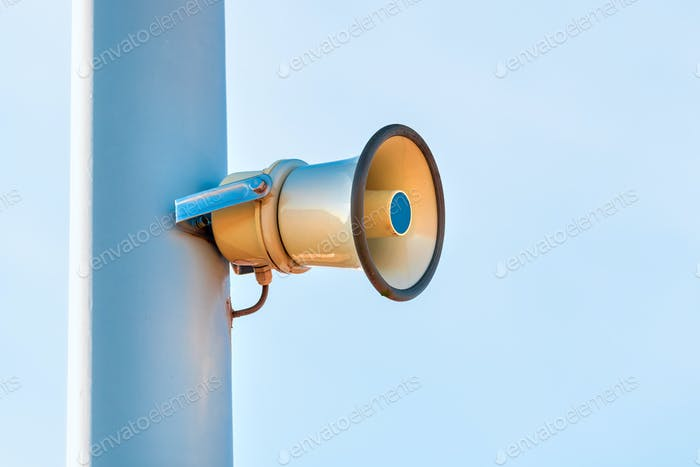 Street Loudspeaker Megaphone Mounted on the Post