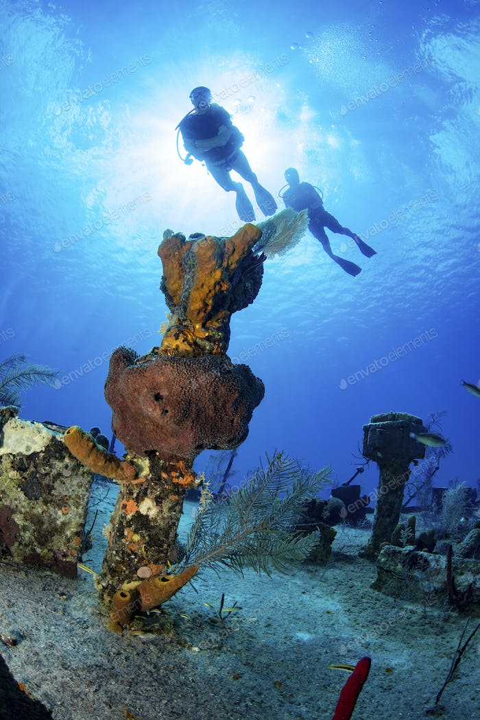 Divers on the wreckage of the Oro Verde, Grand Cayman