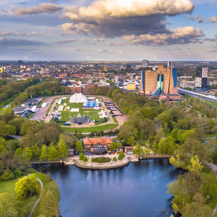 Aerial view Groningen city from Stadspark area insta