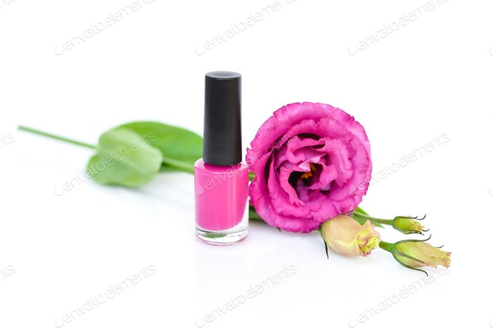 Pink nail polish with flowers eustoma on white background