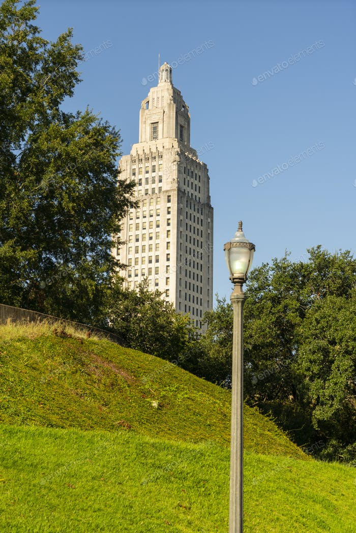 Blue Skies at the State Capital Building Baton Rouge Louisiana
