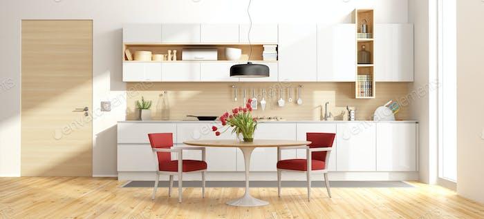 White and wooden modern kitchen