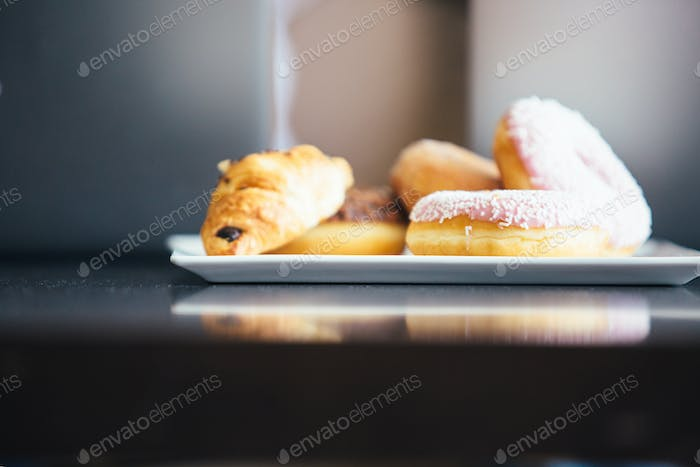 Delicious pastry on plate