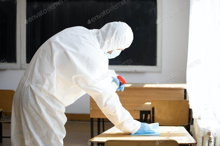 Cleaning and disinfection school class to prevent COVID-19.M
