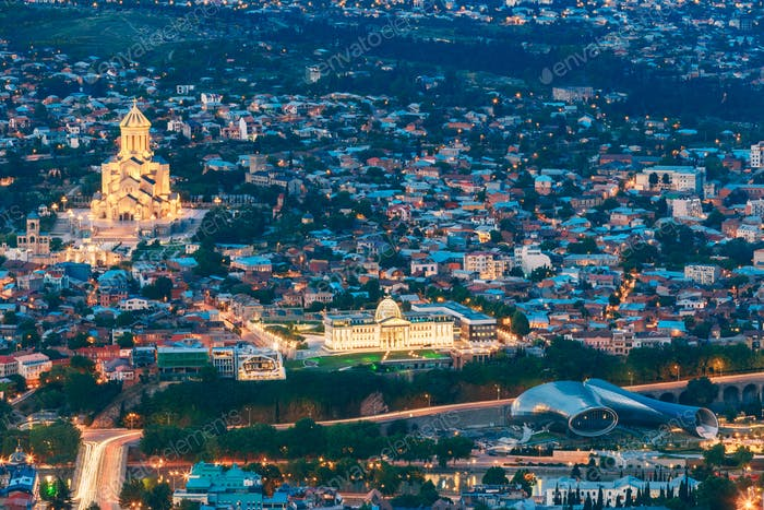 Tbilisi Georgia. Scenic Aerial Cityscape, Famous Landmarks In Br