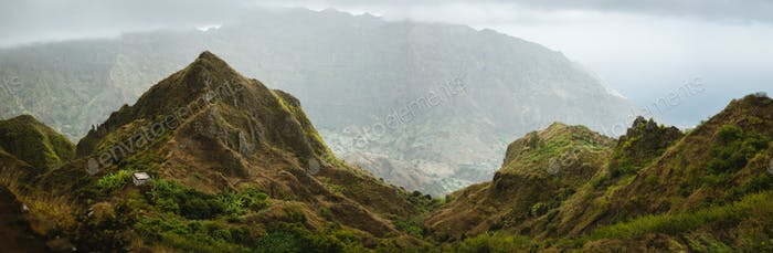 Panoramic view of mountain tops of Ribeira de Janela on Santo Antao Cape Verde. Beautiful