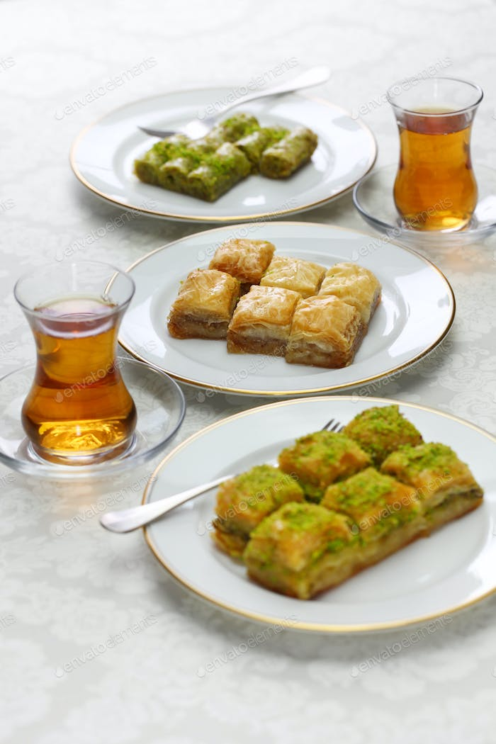 turkish traditional desserts, baklava variations & tea