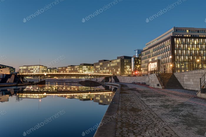 Modern office buildings at the river Spree in Berlin