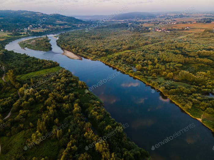 Winding Dunajec River Drone View. Green and Blue Outdoors