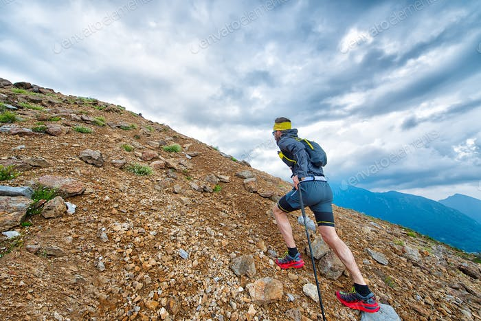 Skyrunner athlete while training in the mountains
