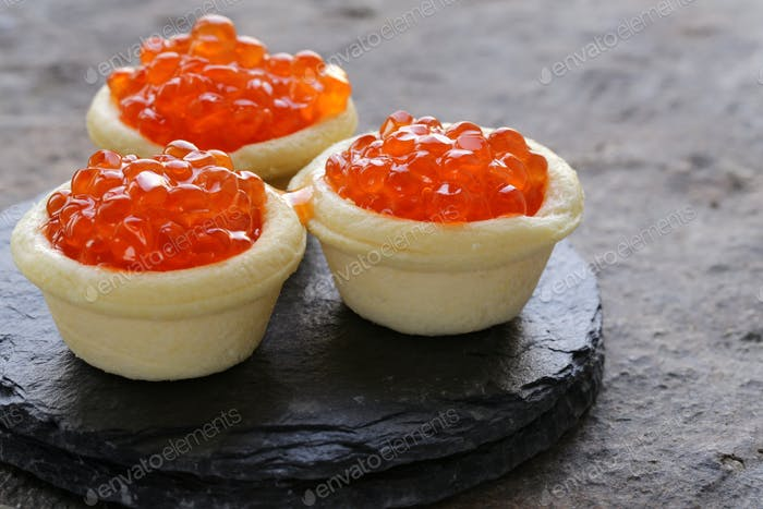 Gourmet Tartlets with Red Caviar