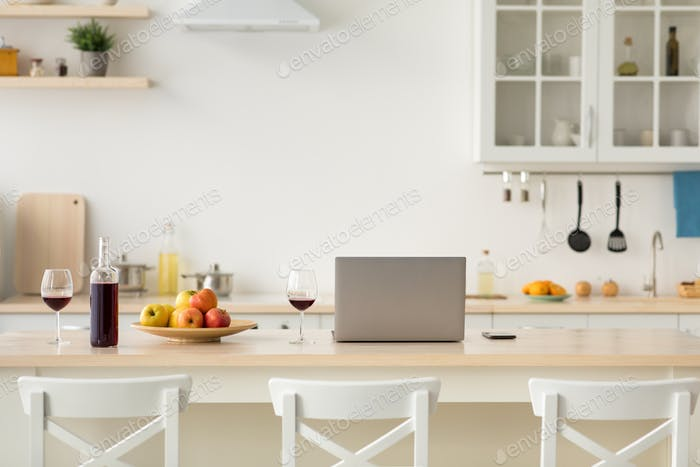 Scandinavian minimal style in kitchen decor, workplace and romantic for two