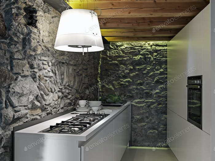 Interiors of the Rustic Kitchen with Stone Walls