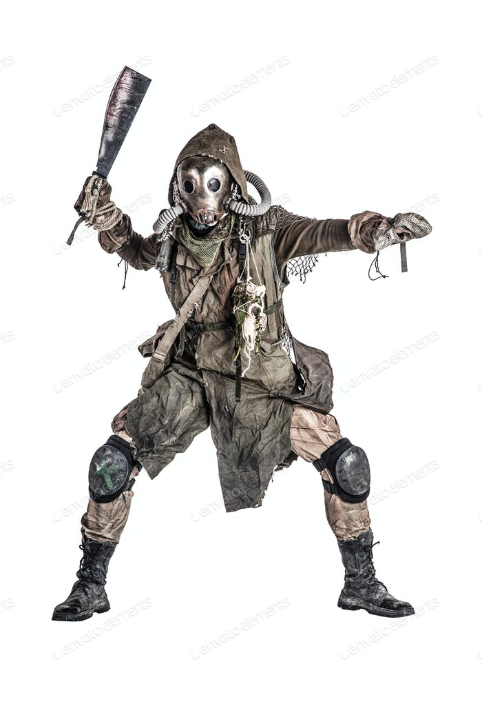 Post apocalyptic human threatening with cane knife