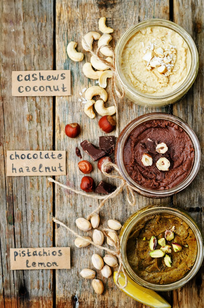list toasted nut butters, pistachio, hazelnut and cashew