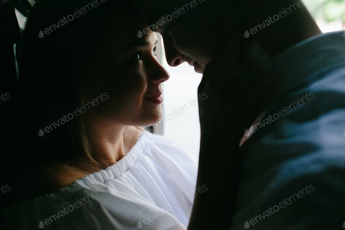 couple facing each other
