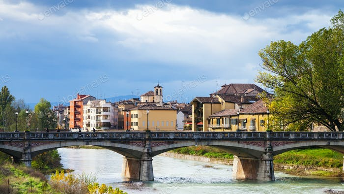 Parma river and Ponte Verdi bridge in Parma