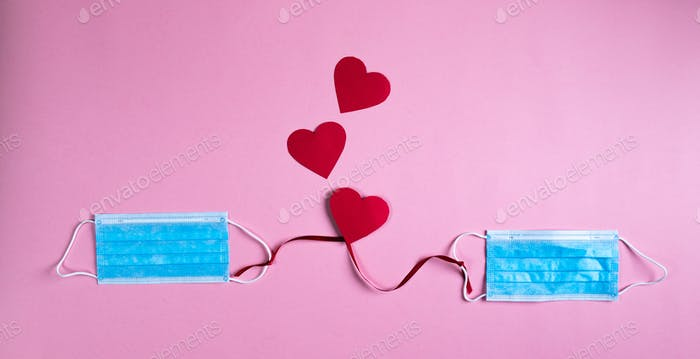 Valentine's Day Coronavirus Mask Covid Background