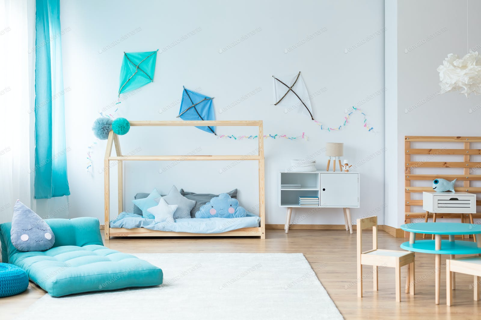 Colorful kids bedroom with kites photo by bialasiewicz on Envato Elements