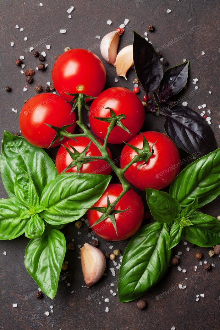 Italian food. Tomato and basil