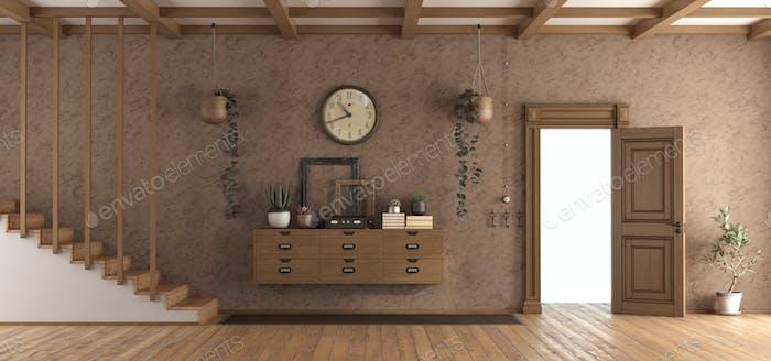 Retro home entrace with open door