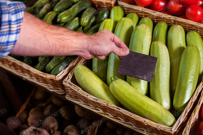 Price tag installation on vegetable marrow.