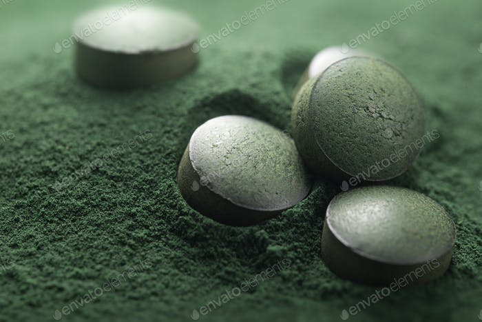 Spirulina Tablets ans Powder, Dietary Supplement