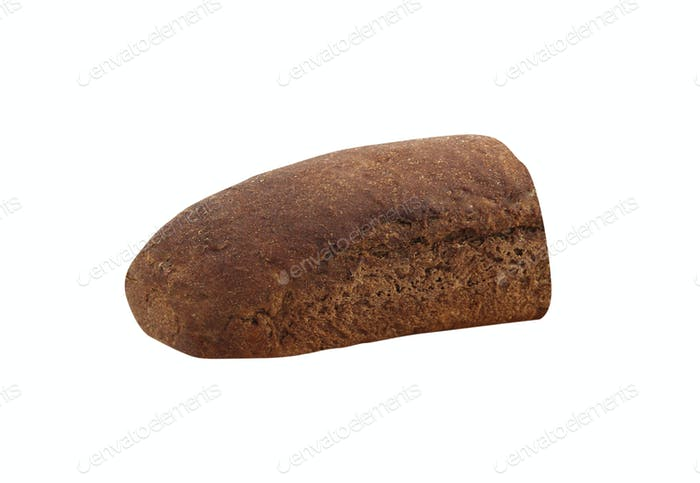 Half a loaf of bread on a white background