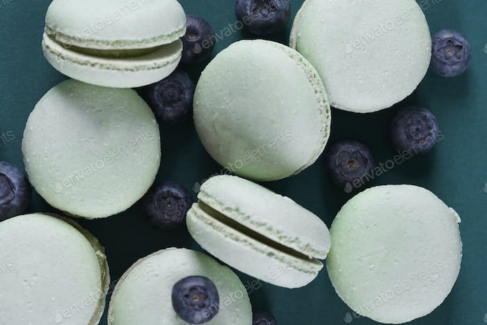 Directly above shot of macaroons with blueberries