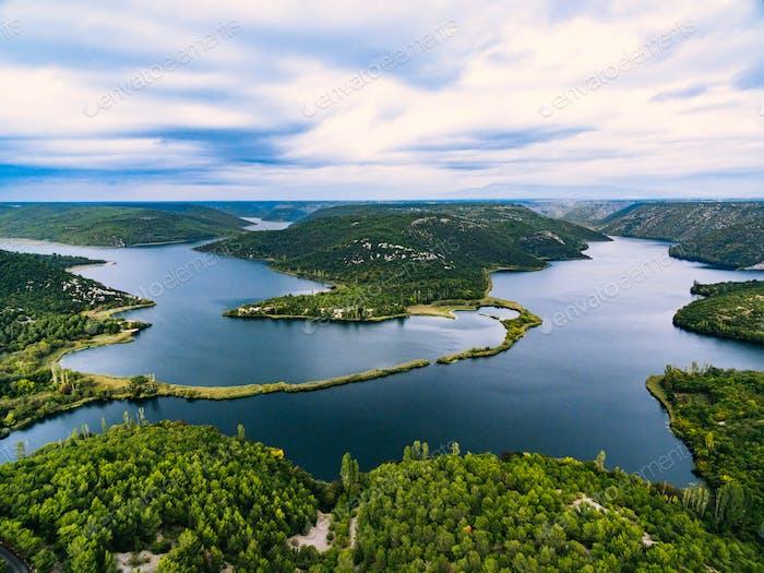 Aerial Photo of Krka National Park, Croatia.