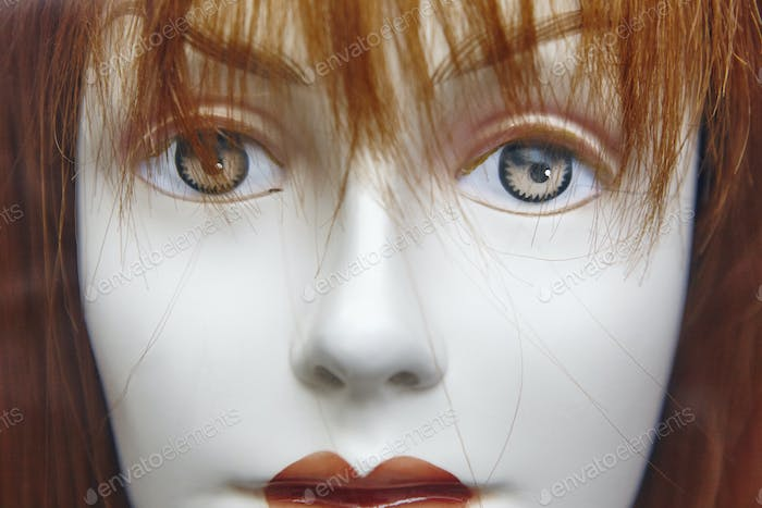 Female dummy head detail. Artificial woman. Imitation of life. Horizontal