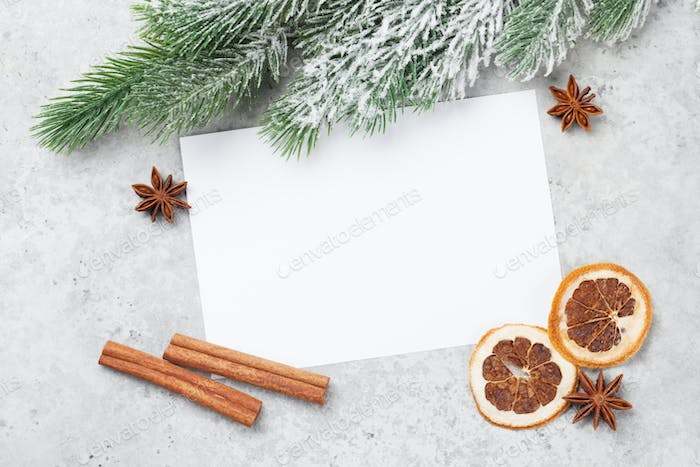Christmas card with fir tree and spices