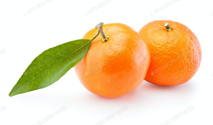 Two tangerines oranges fruit isolated on white background