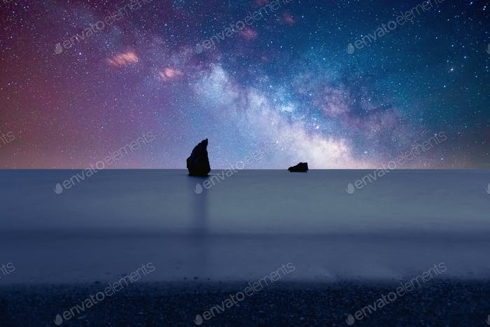 Galaxy & Milky Way Over A Beach 3