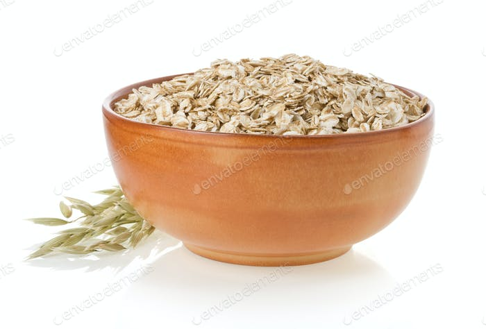 bowl of oat flake on white