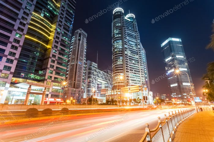 glow city road with modern buildings