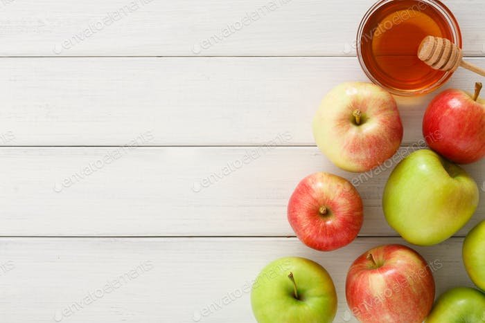 Сезонный фон урожая с яблоками и медом