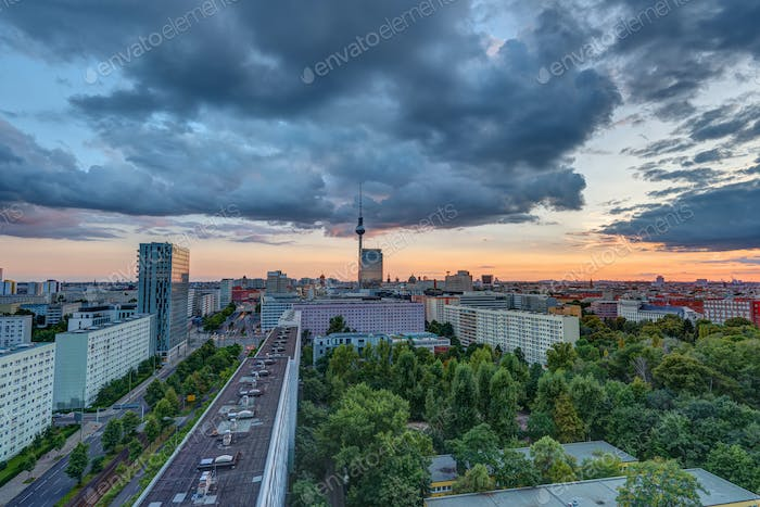 Dramatic sunset in Berlin, Germany