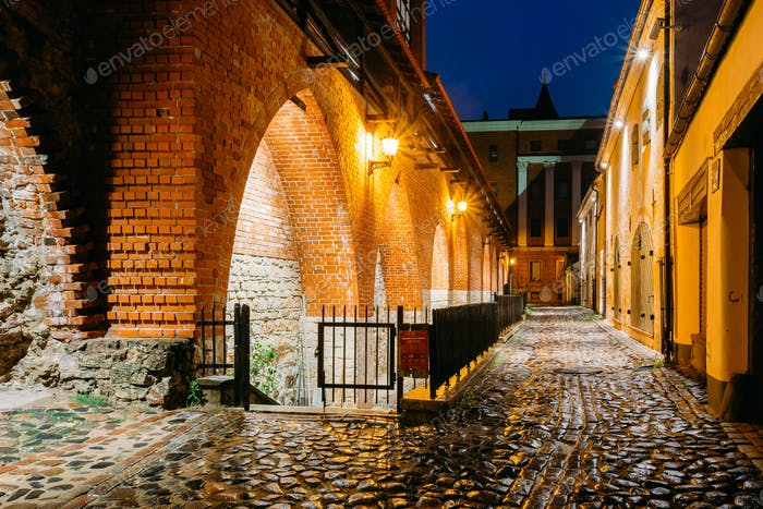 Riga, Latvia. Part Of Old The City Wall In Torna Street In Light