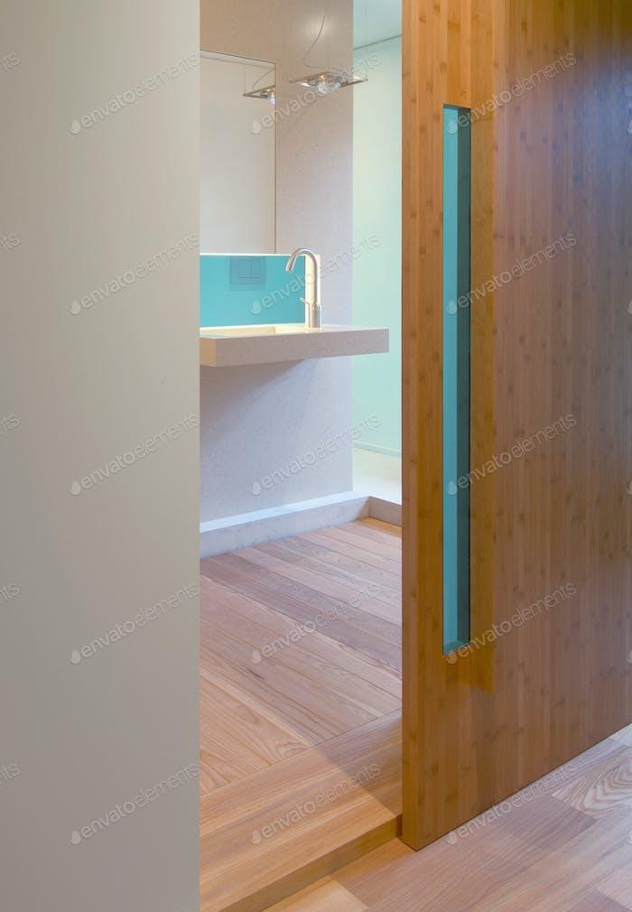Sliding door of modern bathroom