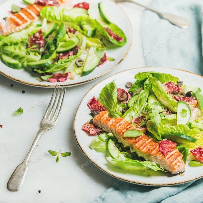Gesunder Frühlingssalat mit gegrilltem Lachs, Orange und Quinoa