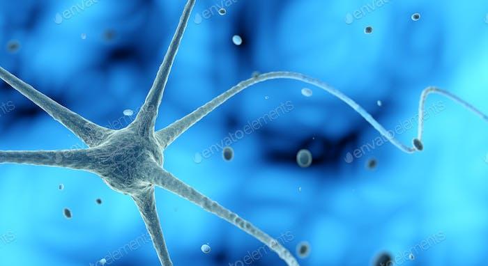 nerve cell in a blue background, 3D illustration
